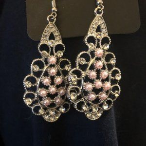 Silver Earrings with Pink Pearls